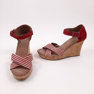 TOMS Sienna Cork Wedge Sandals Red Stripes Size 6